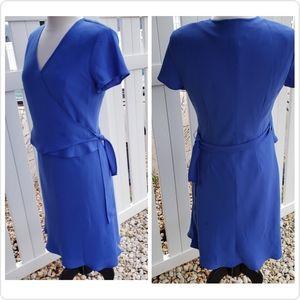 🆕 Evan Picone Solid Blue V-neck Spring Dress 10